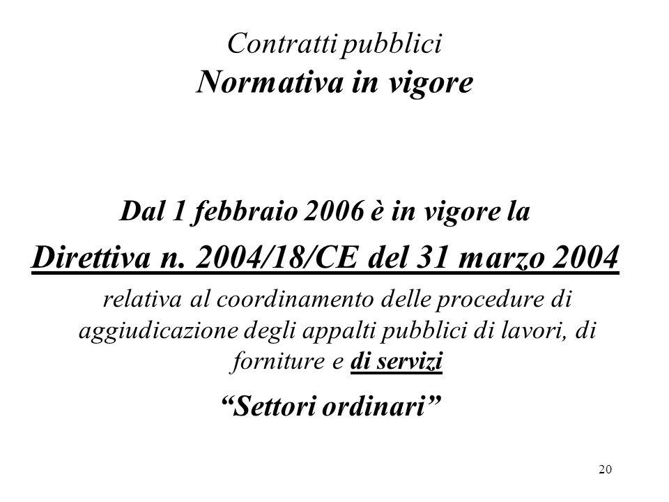 Contratti pubblici Normativa in vigore