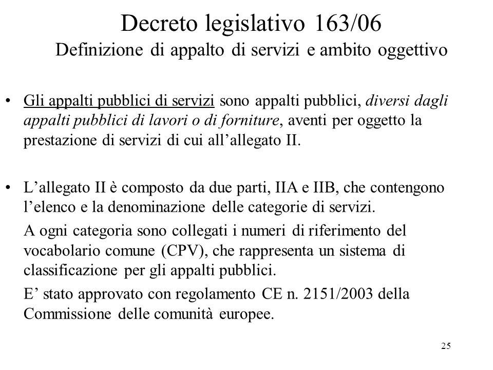 Decreto legislativo 163/06 Definizione di appalto di servizi e ambito oggettivo