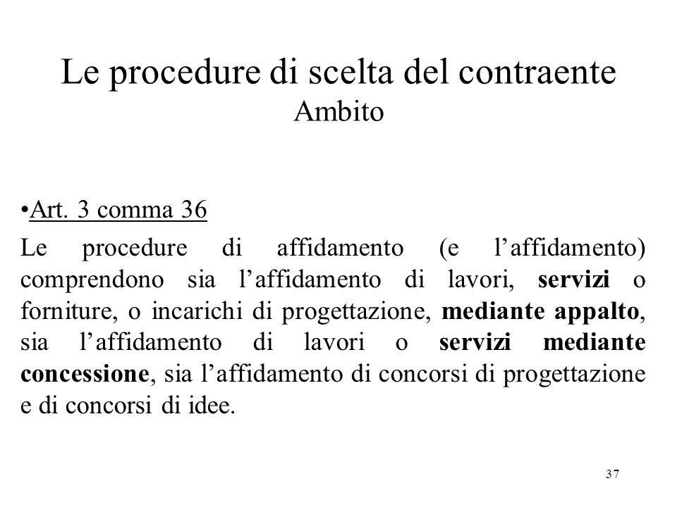 Le procedure di scelta del contraente Ambito