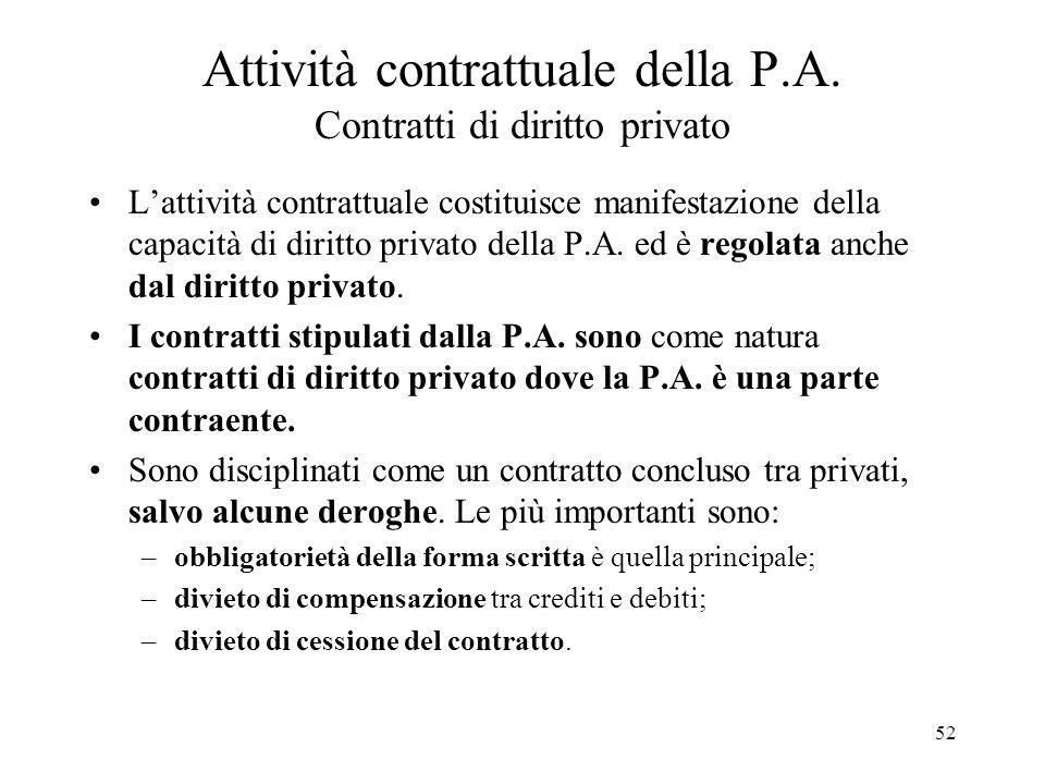 Attività contrattuale della P.A. Contratti di diritto privato