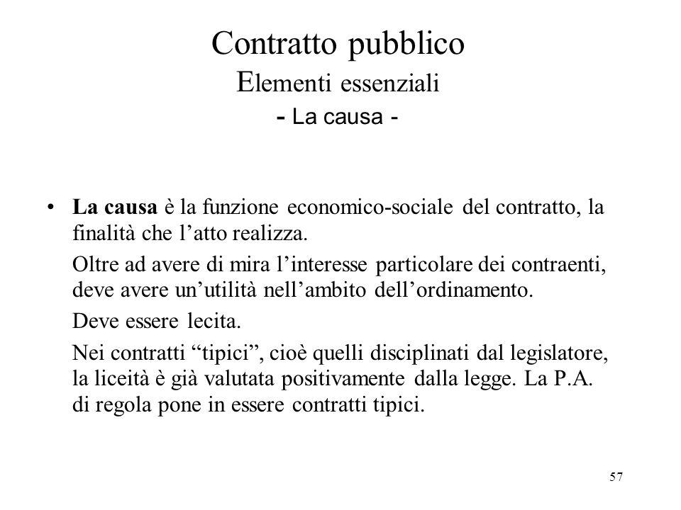 Contratto pubblico Elementi essenziali - La causa -