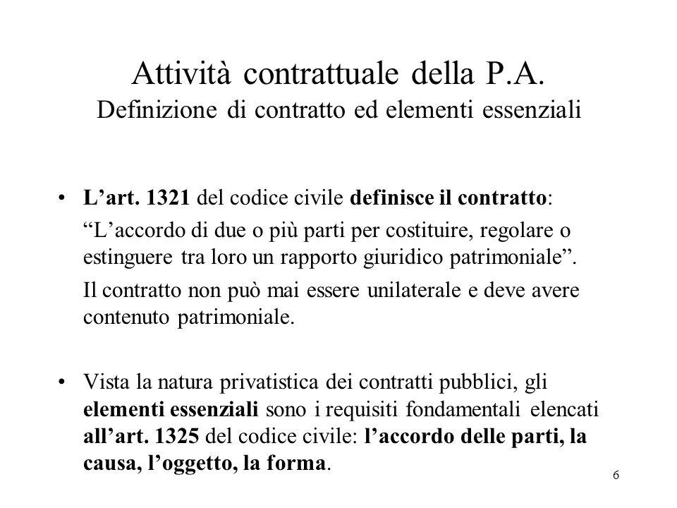Attività contrattuale della P. A