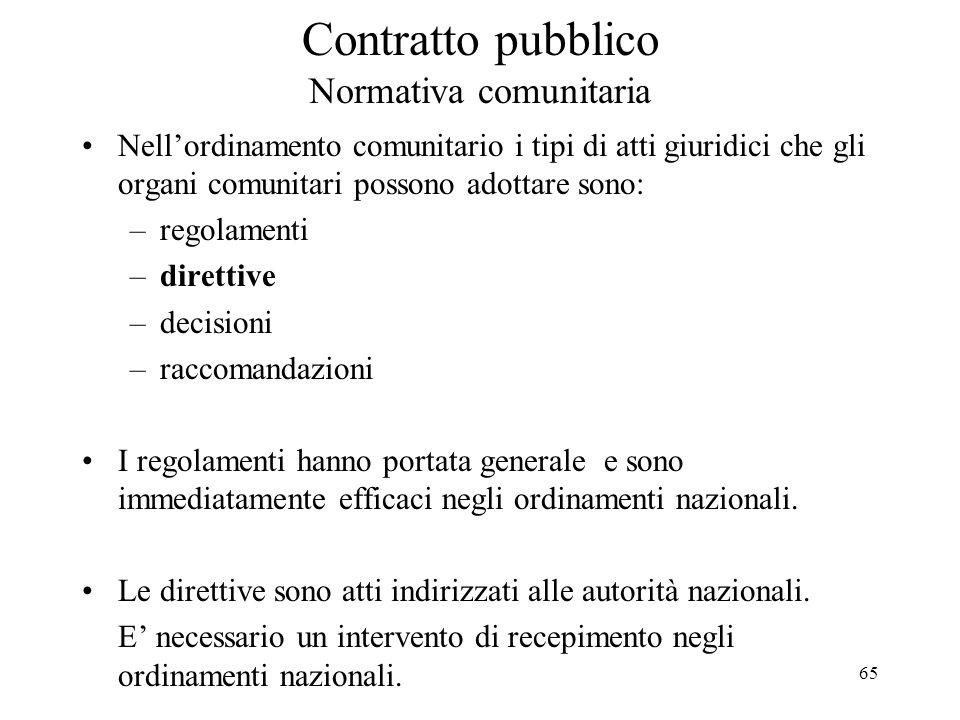 Contratto pubblico Normativa comunitaria