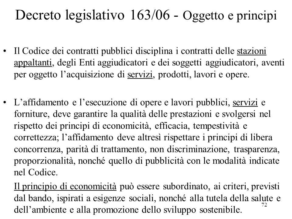 Decreto legislativo 163/06 - Oggetto e principi