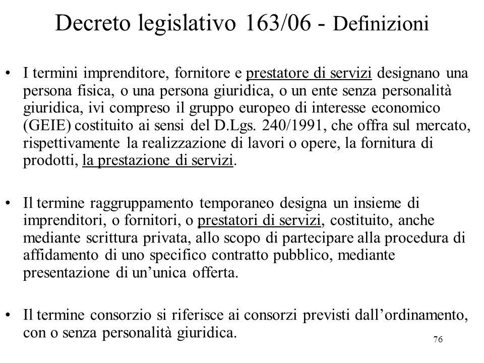 Decreto legislativo 163/06 - Definizioni