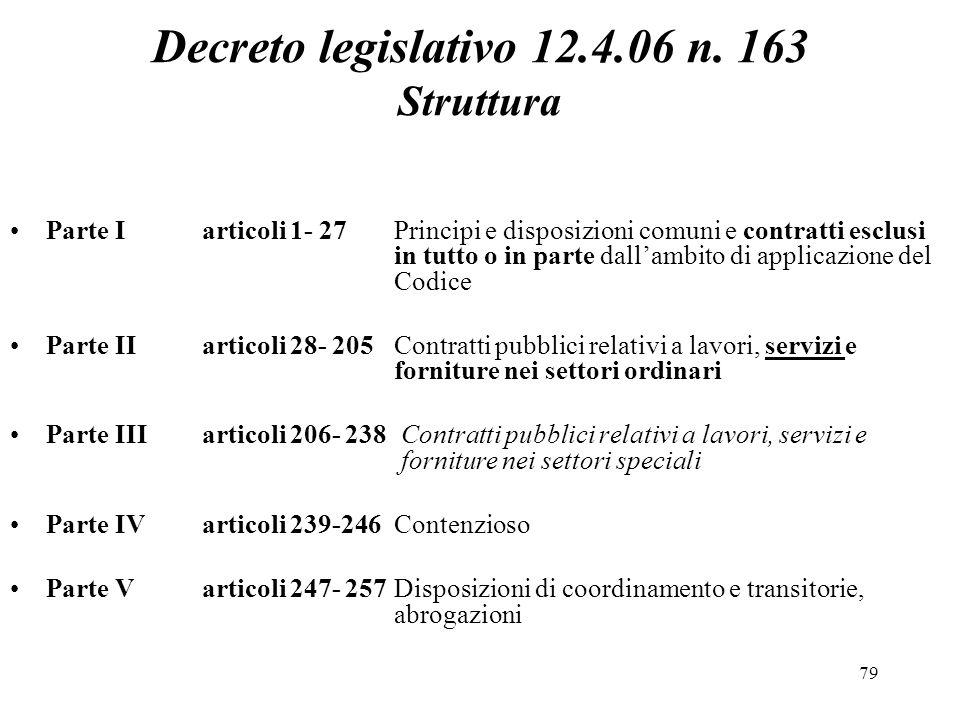 Decreto legislativo 12.4.06 n. 163 Struttura