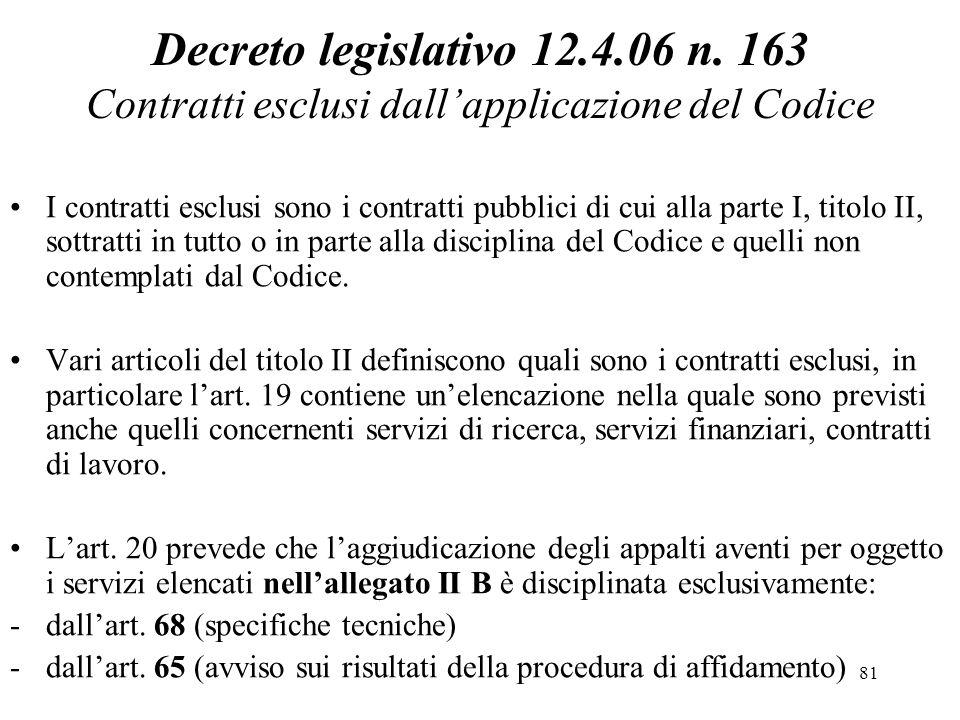 Decreto legislativo 12.4.06 n. 163 Contratti esclusi dall'applicazione del Codice