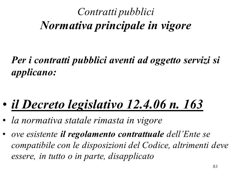Contratti pubblici Normativa principale in vigore