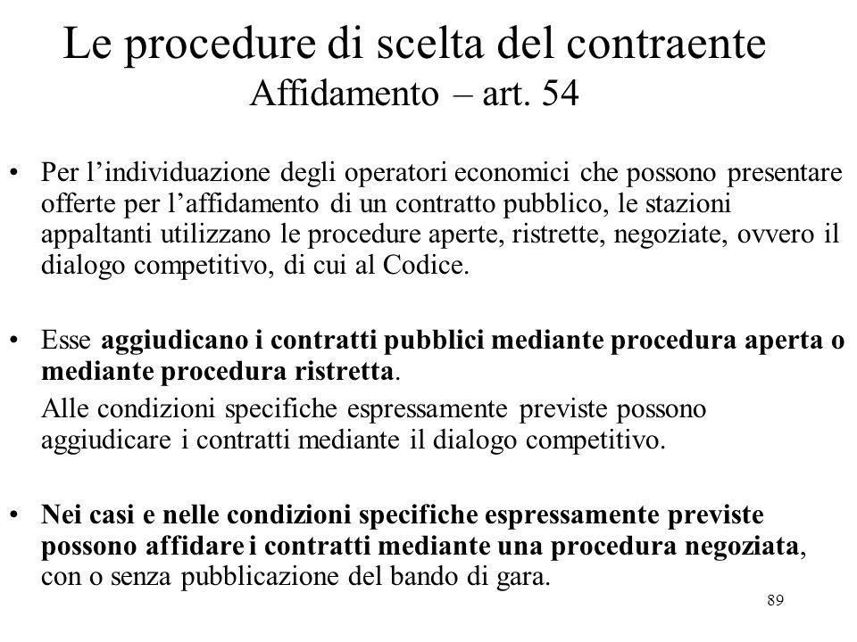 Le procedure di scelta del contraente Affidamento – art. 54