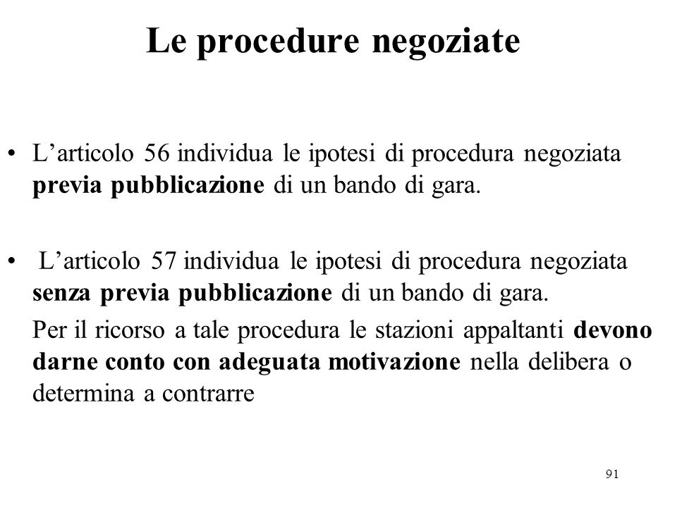 Le procedure negoziate