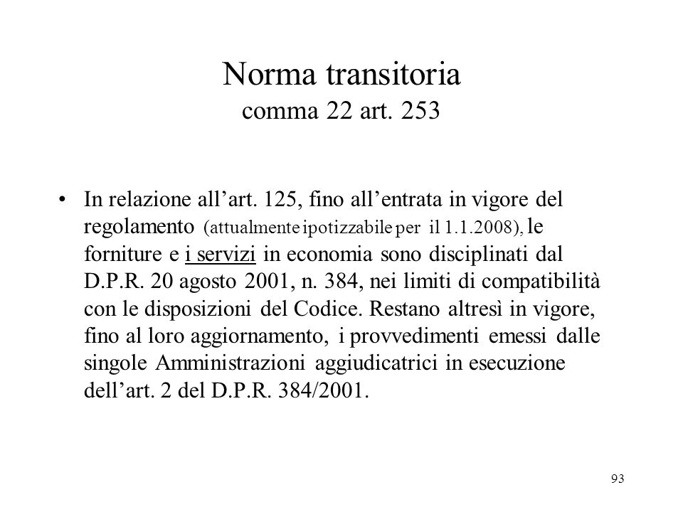 Norma transitoria comma 22 art. 253