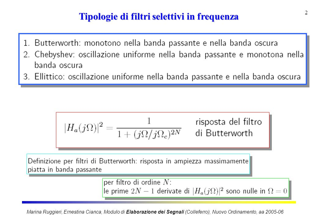 Tipologie di filtri selettivi in frequenza