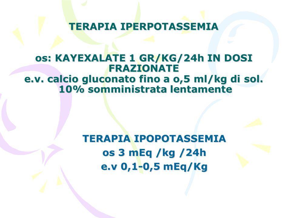 TERAPIA IPOPOTASSEMIA os 3 mEq /kg /24h e.v 0,1-0,5 mEq/Kg