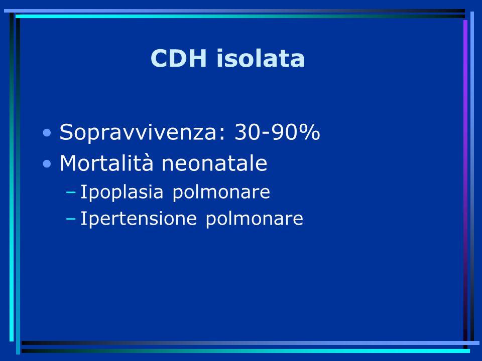 CDH isolata Sopravvivenza: 30-90% Mortalità neonatale
