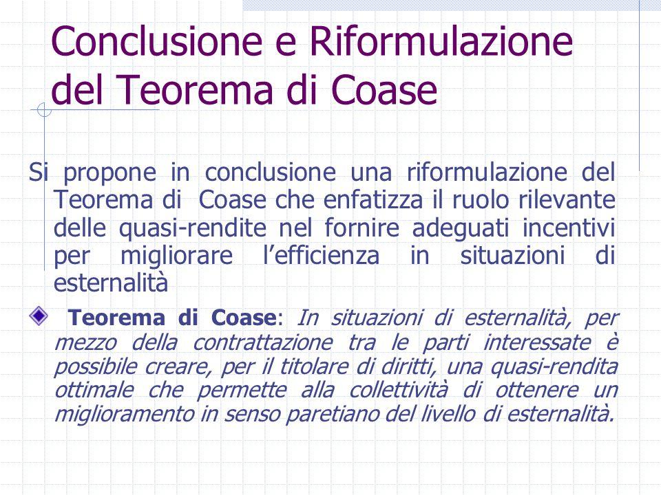 Conclusione e Riformulazione del Teorema di Coase