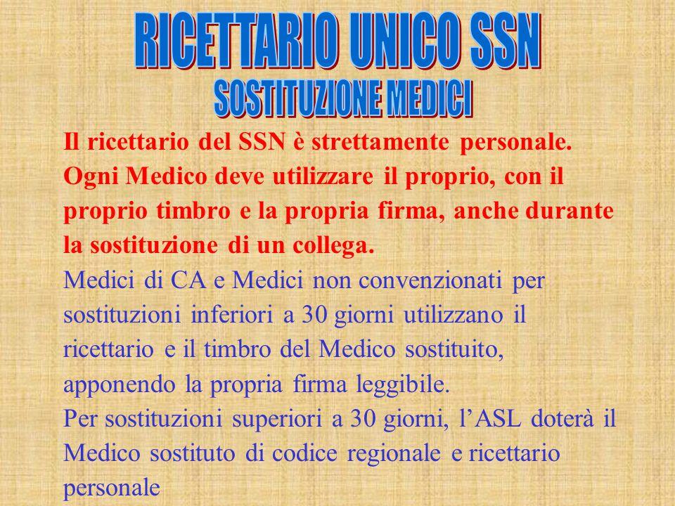 RICETTARIO UNICO SSN SOSTITUZIONE MEDICI