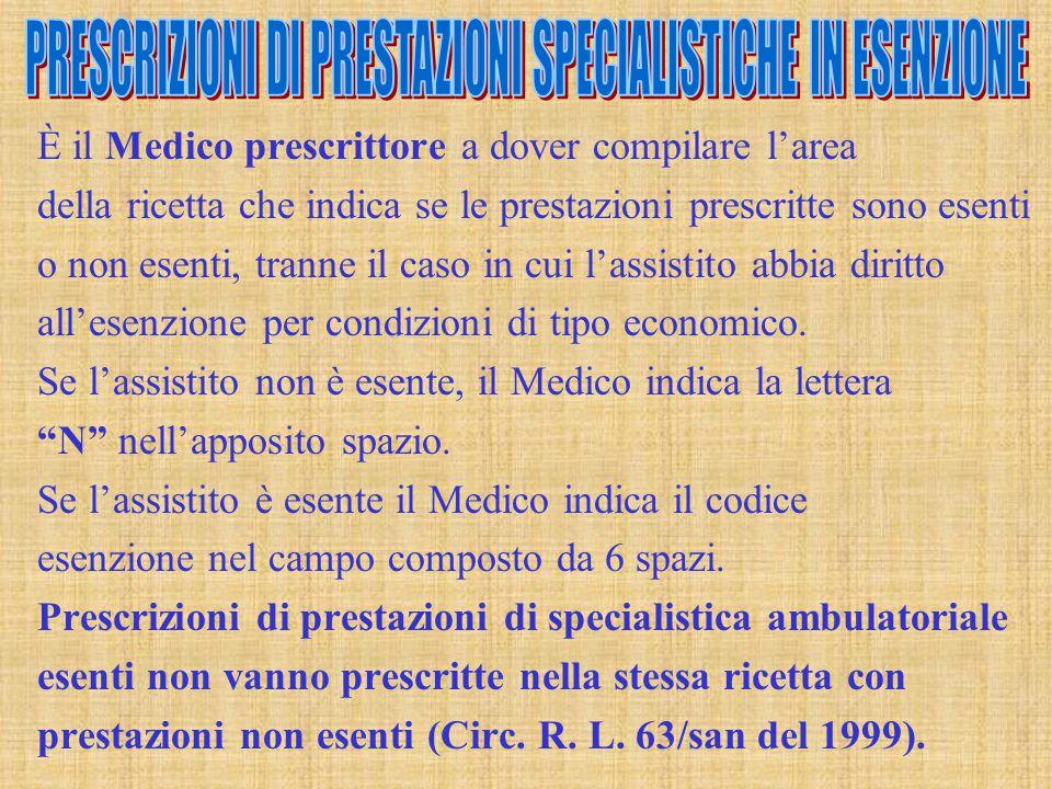 PRESCRIZIONI DI PRESTAZIONI SPECIALISTICHE IN ESENZIONE