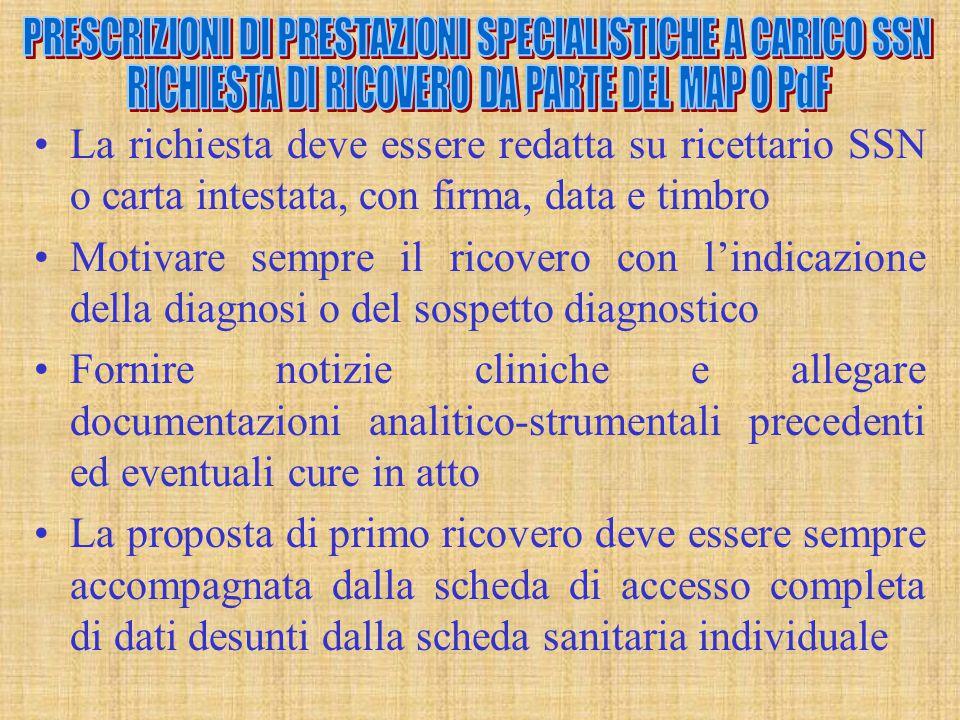 PRESCRIZIONI DI PRESTAZIONI SPECIALISTICHE A CARICO SSN