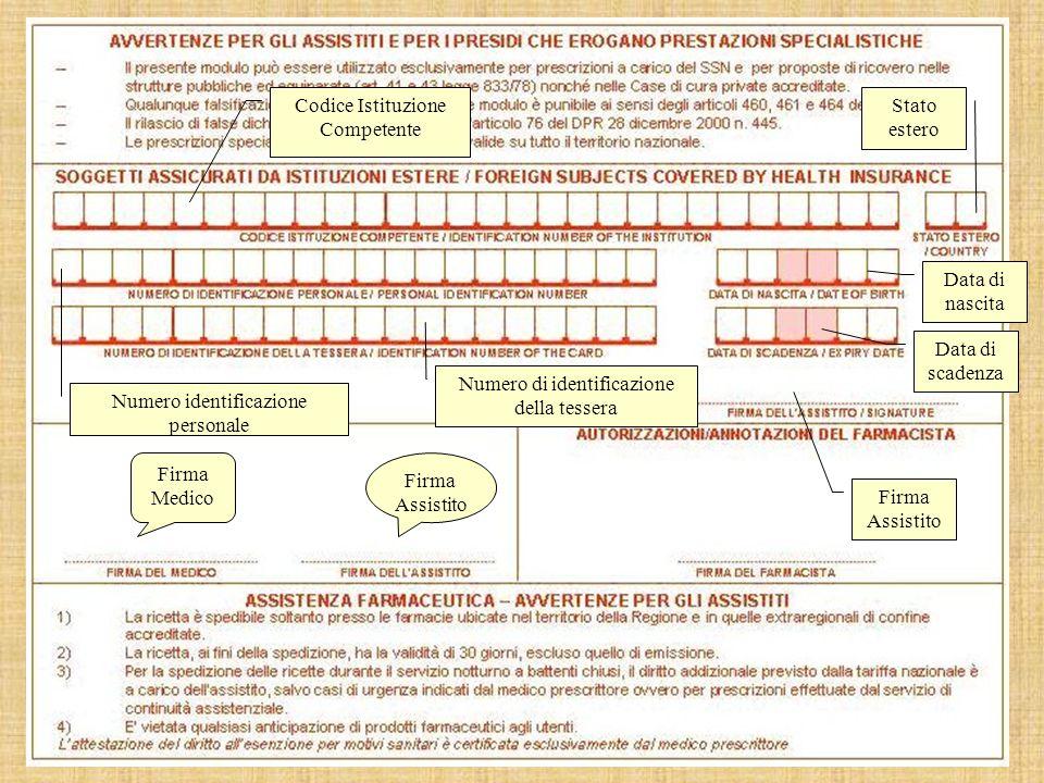 Codice Istituzione Competente Stato estero