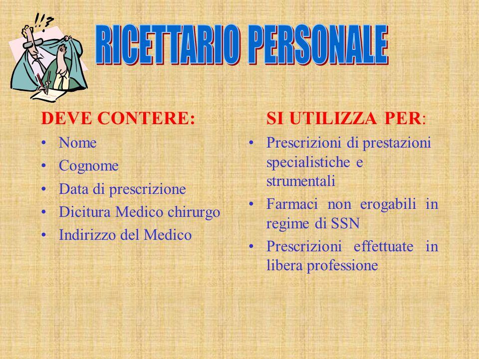 RICETTARIO PERSONALE DEVE CONTERE: Nome Cognome Data di prescrizione