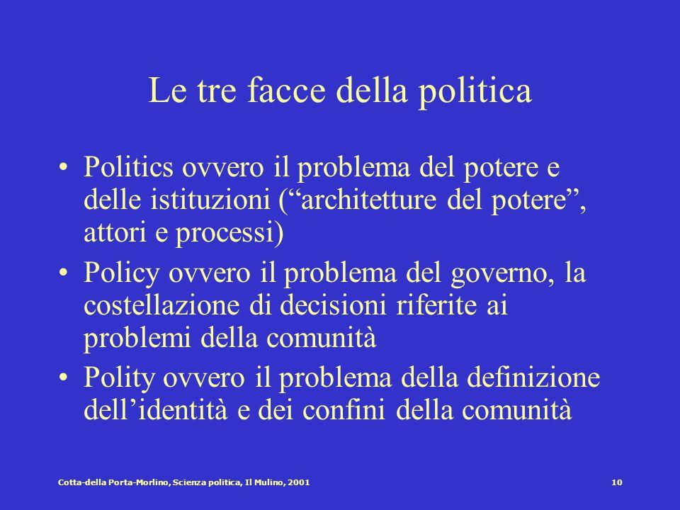 Le tre facce della politica