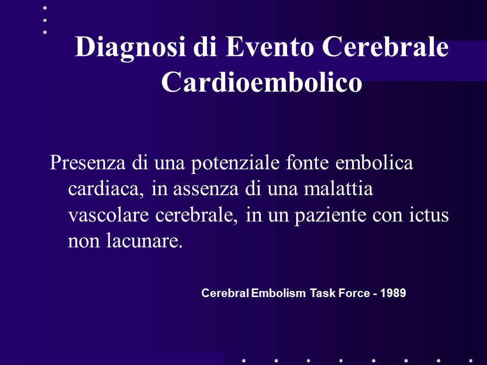 Diagnosi di Evento Cerebrale Cardioembolico