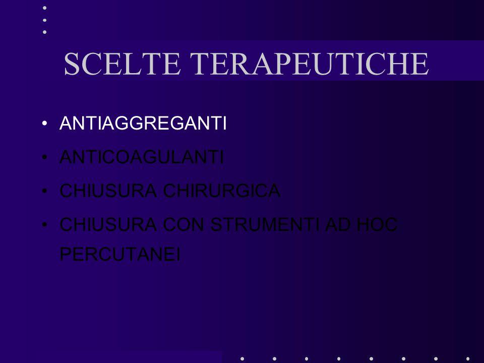 SCELTE TERAPEUTICHE ANTIAGGREGANTI ANTICOAGULANTI CHIUSURA CHIRURGICA