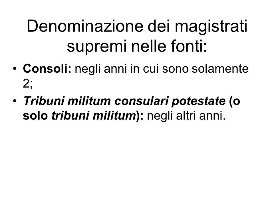 Denominazione dei magistrati supremi nelle fonti: