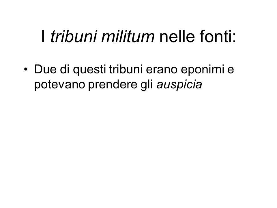 I tribuni militum nelle fonti: