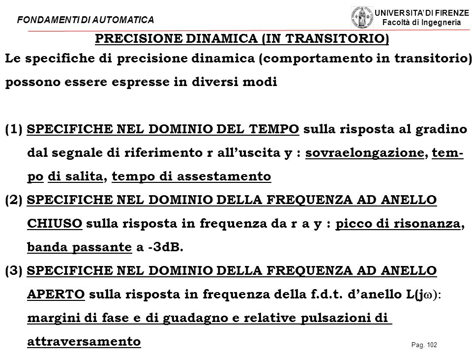 PRECISIONE DINAMICA (IN TRANSITORIO)