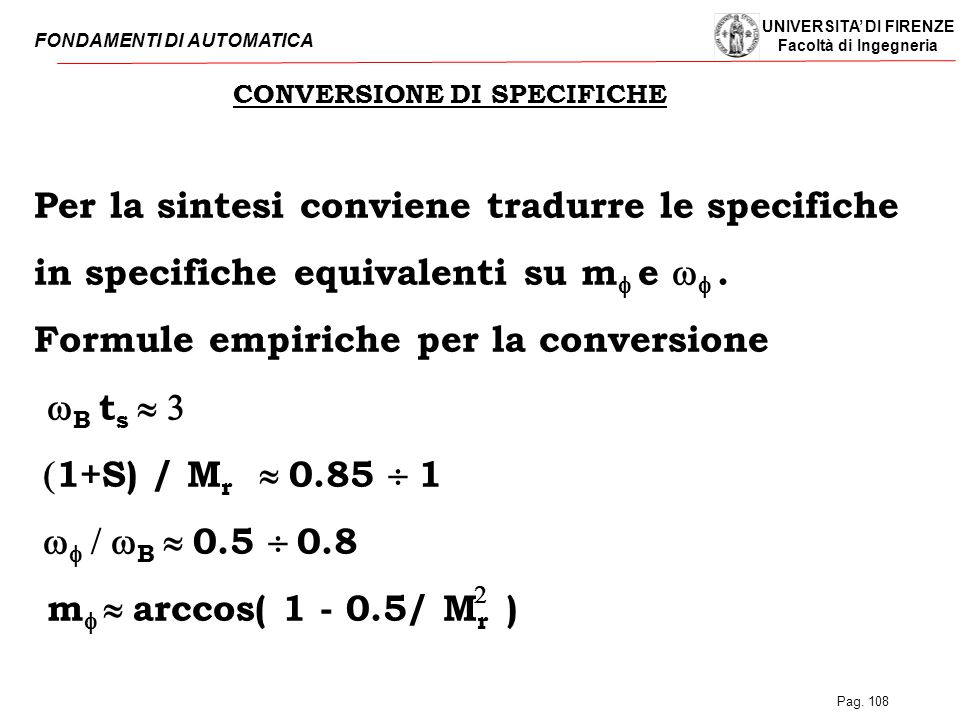 CONVERSIONE DI SPECIFICHE