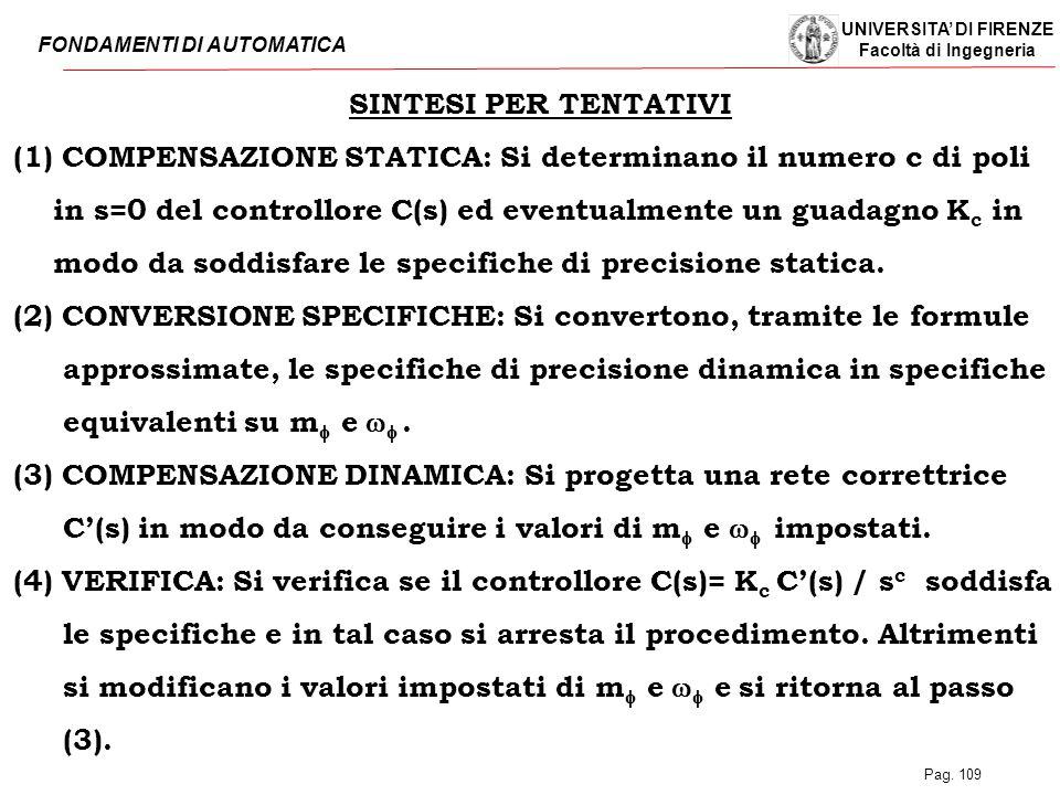SINTESI PER TENTATIVI (1) COMPENSAZIONE STATICA: Si determinano il numero c di poli. in s=0 del controllore C(s) ed eventualmente un guadagno Kc in.