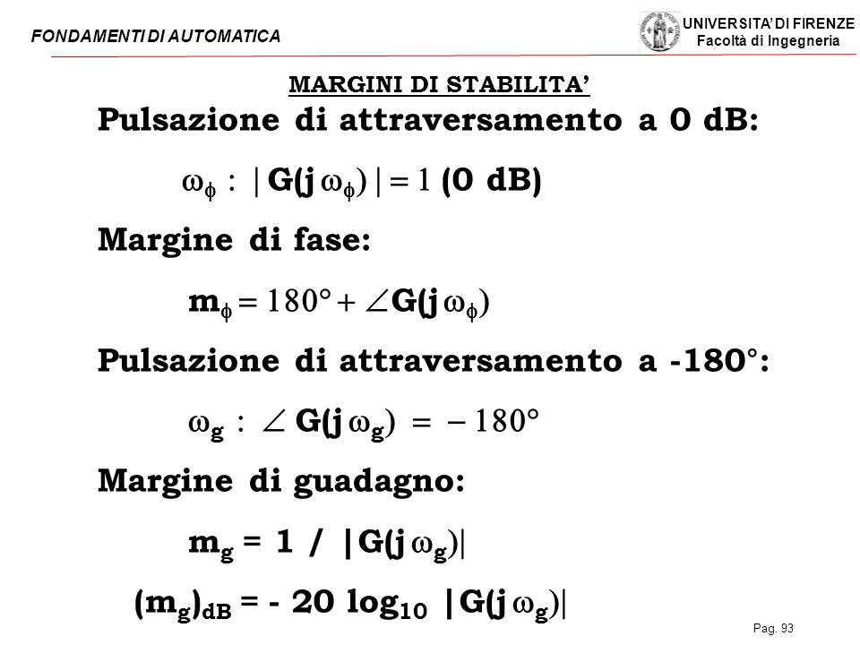 Pulsazione di attraversamento a 0 dB: wf : | G(j wf) | = 1 (0 dB)