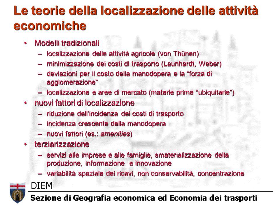 Le teorie della localizzazione delle attività economiche