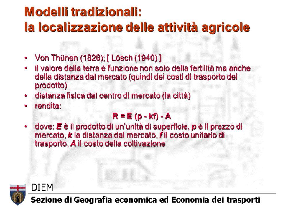 Modelli tradizionali: la localizzazione delle attività agricole