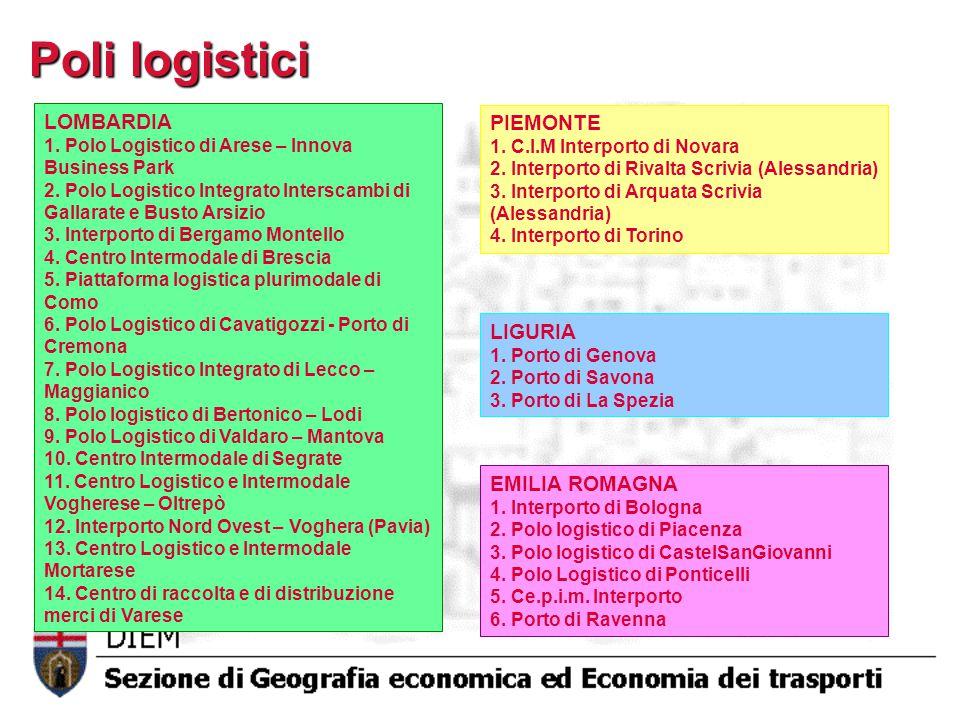 Poli logistici LOMBARDIA PIEMONTE LIGURIA EMILIA ROMAGNA