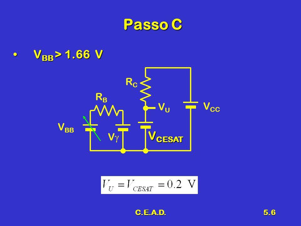 Passo C VBB > 1.66 V RC RB VCC VU VBB VCESAT Vg C.E.A.D.