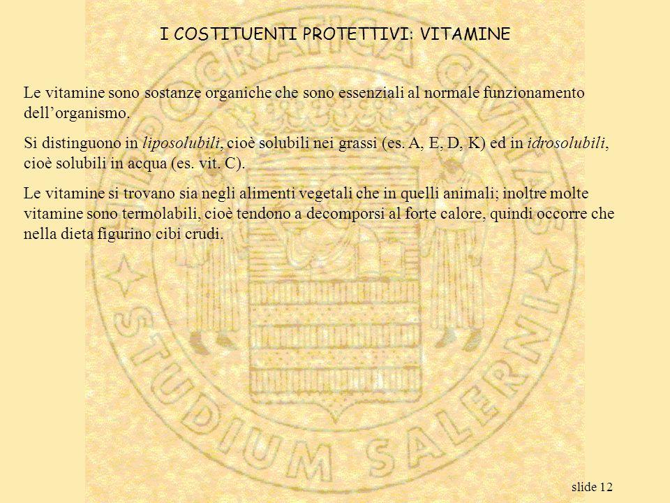 I COSTITUENTI PROTETTIVI: VITAMINE