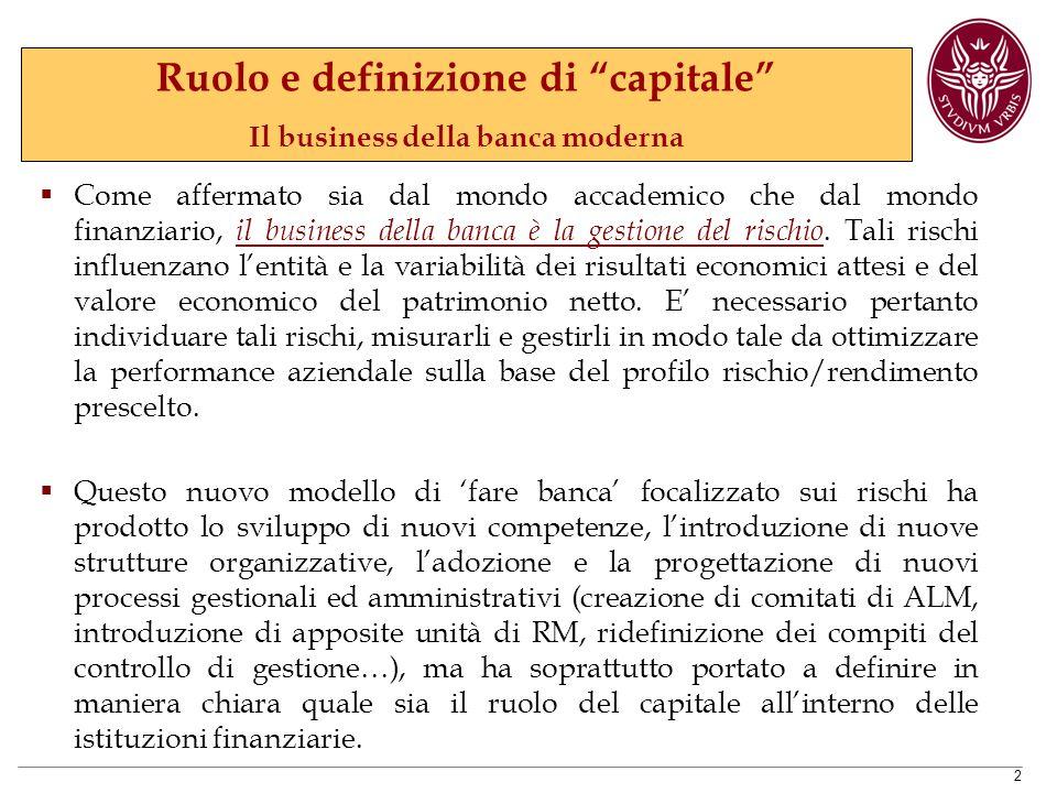 Ruolo e definizione di capitale Il business della banca moderna