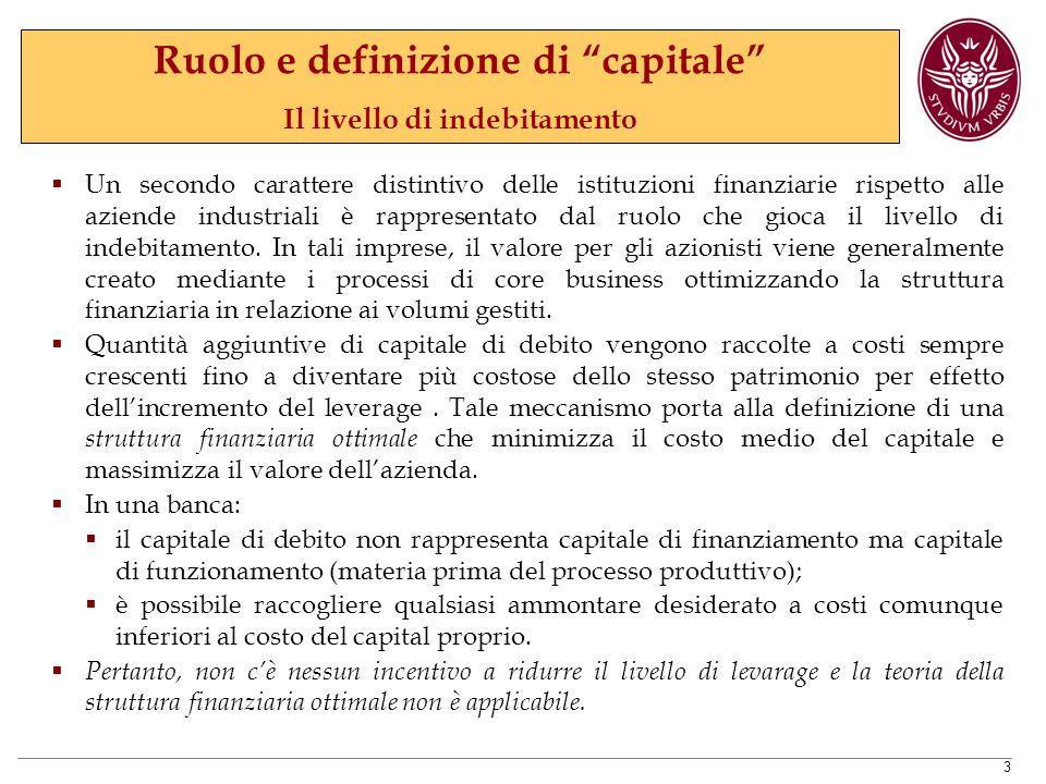Ruolo e definizione di capitale Il livello di indebitamento