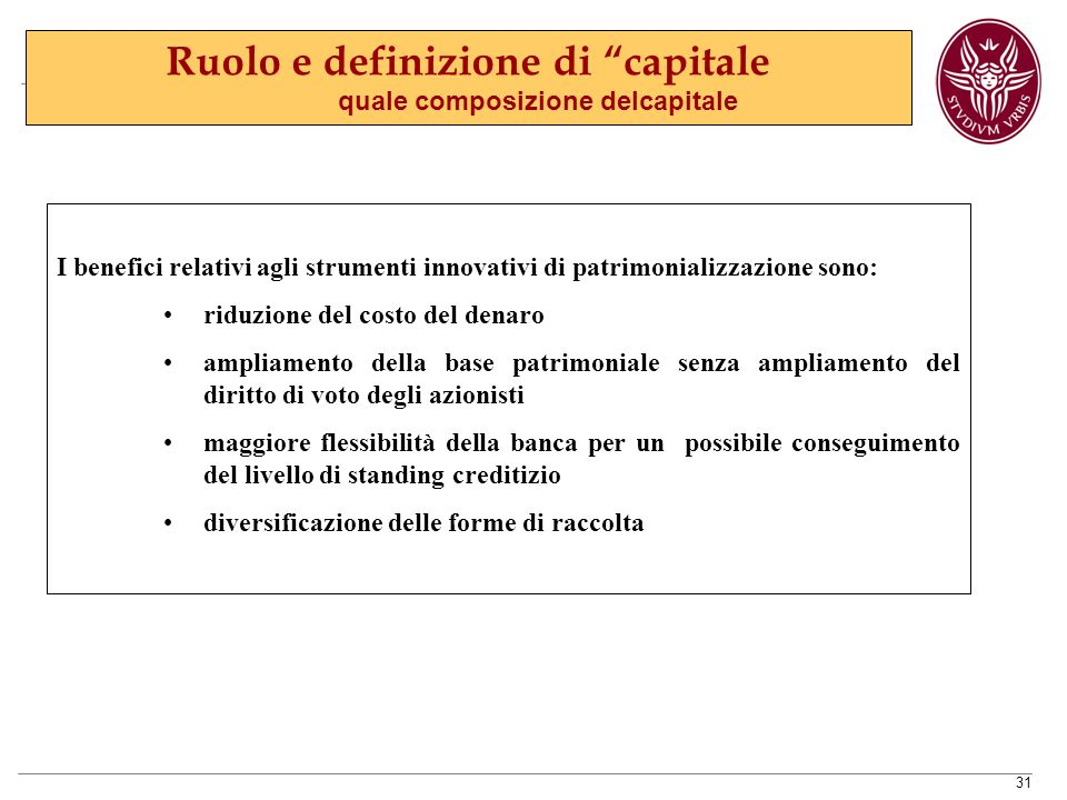 Ruolo e definizione di capitale quale composizione delcapitale