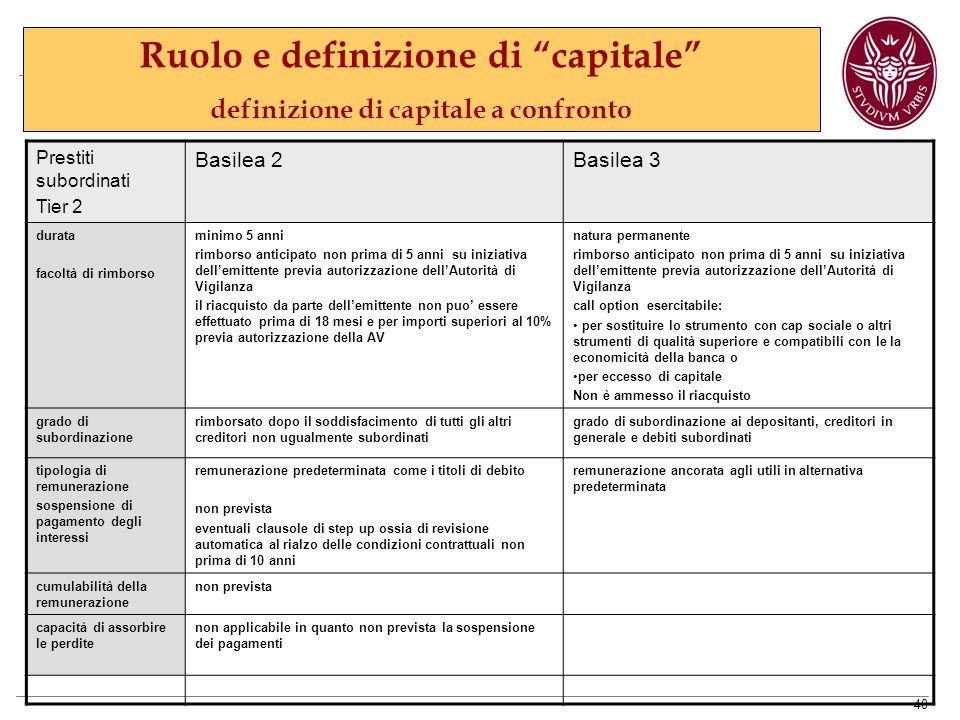 Ruolo e definizione di capitale definizione di capitale a confronto