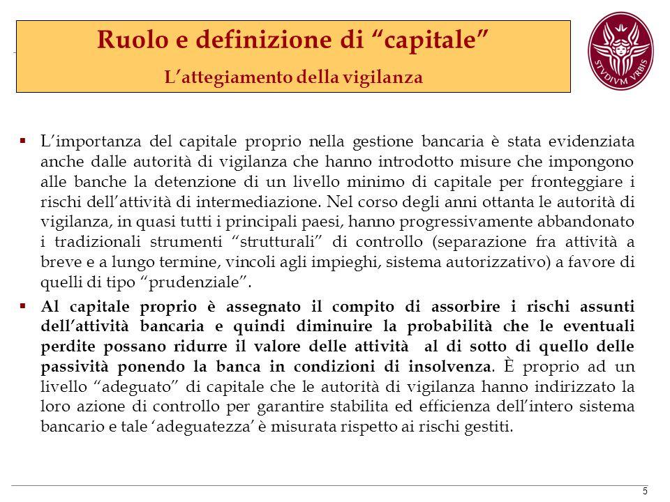Ruolo e definizione di capitale L'attegiamento della vigilanza