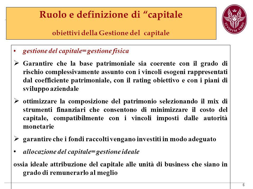 Ruolo e definizione di capitale obiettivi della Gestione del capitale