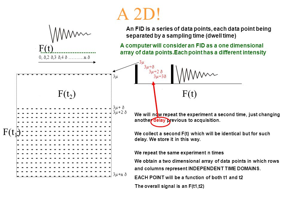 A 2D! An FID is a series of data points, each data point being separated by a sampling time (dwell time)