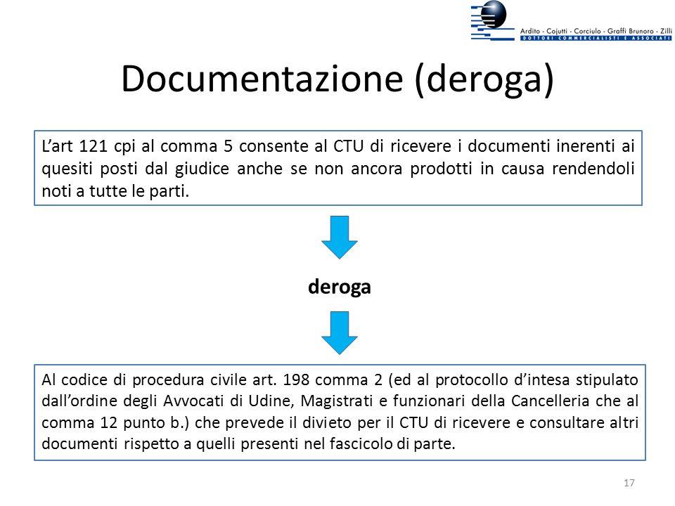 Documentazione (deroga)
