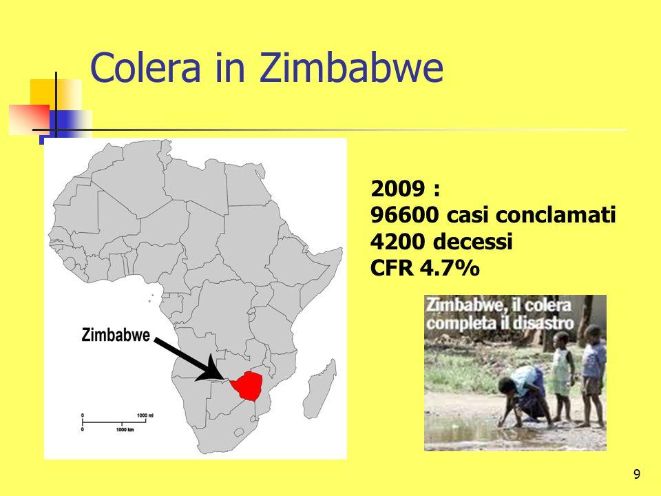 Colera in Zimbabwe 2009 : 96600 casi conclamati 4200 decessi CFR 4.7%