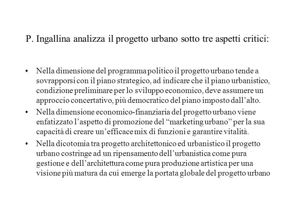 P. Ingallina analizza il progetto urbano sotto tre aspetti critici: