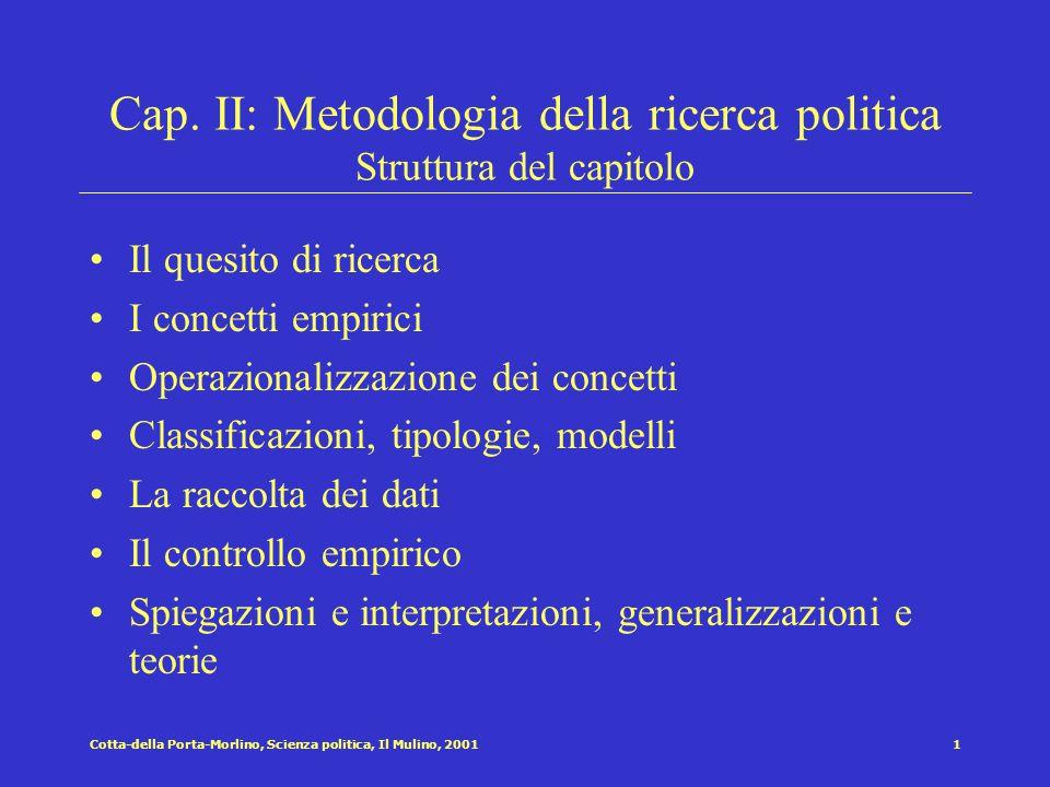 Cap. II: Metodologia della ricerca politica Struttura del capitolo