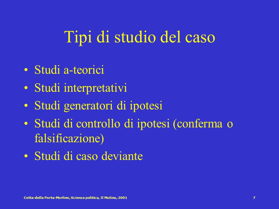 Tipi di studio del caso Studi a-teorici Studi interpretativi